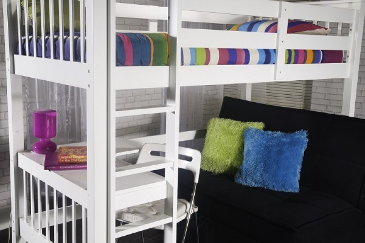 limelight pavo white high sleeper study bunk by limelight beds