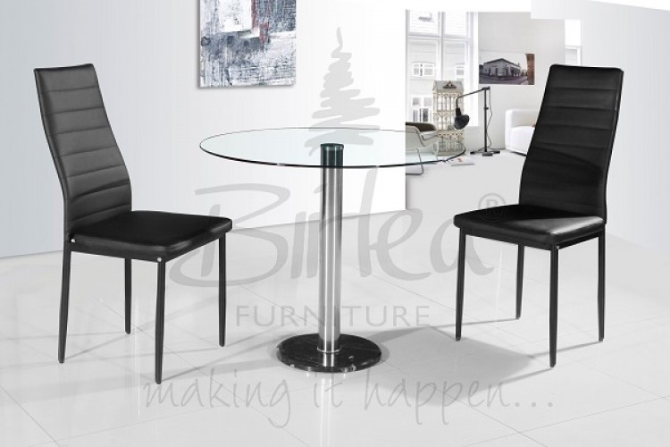Birlea Romford Glass Dining Table Set With Two Chairs Black By Birlea
