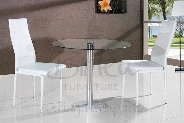 Birlea Romford Glass Dining Table Set With Two Chairs White By Birlea