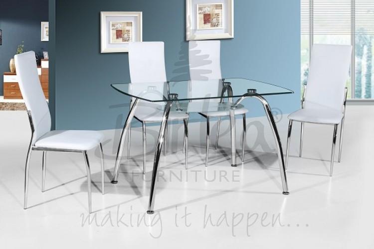 Birlea Hampton Glass Dining Table Set With Four Chairs White By Birlea