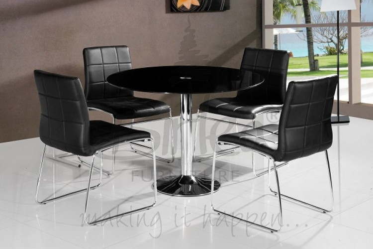 birlea stratford glass dining table set with four chairs black by
