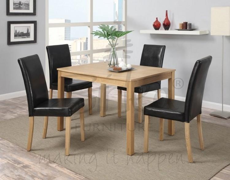 Birlea Cambridge Oak Veneer Dining Table Set With Four Chairs By Birlea