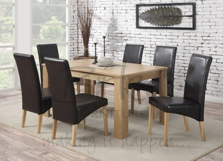 Birlea Gloucester Oak Veneer Dining Table Set With Six Chairs By