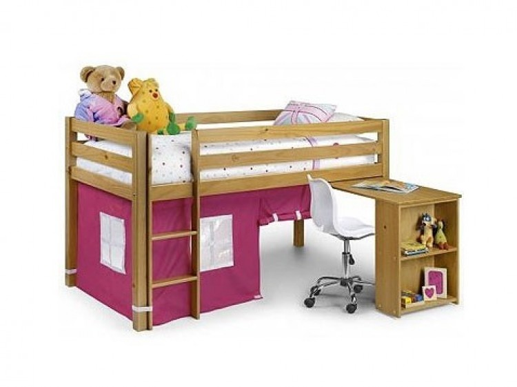 Julian Bowen Wendy Pine Mid Sleeper Bed Frame With Pink Tent By