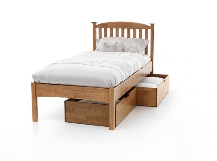 Serene eleanor 4ft6 double oak wooden bed frame with low footend by serene furnishings - Low double bed images ...