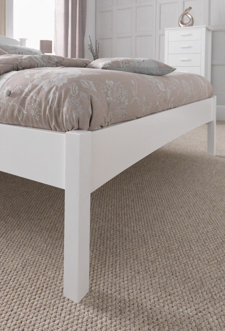 Serene Eleanor 3ft Single White Wooden Bed Frame With Low Footend By