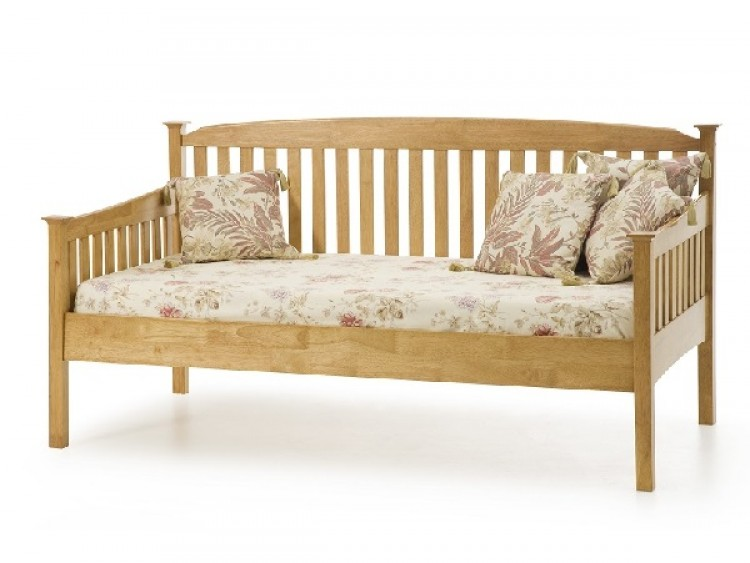 serene eleanor 3ft single oak wooden day bed frame by serene furnishings