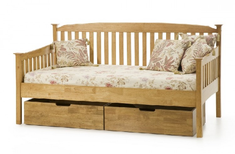 Serene Eleanor 3ft Single Oak Wooden Day Bed Frame By