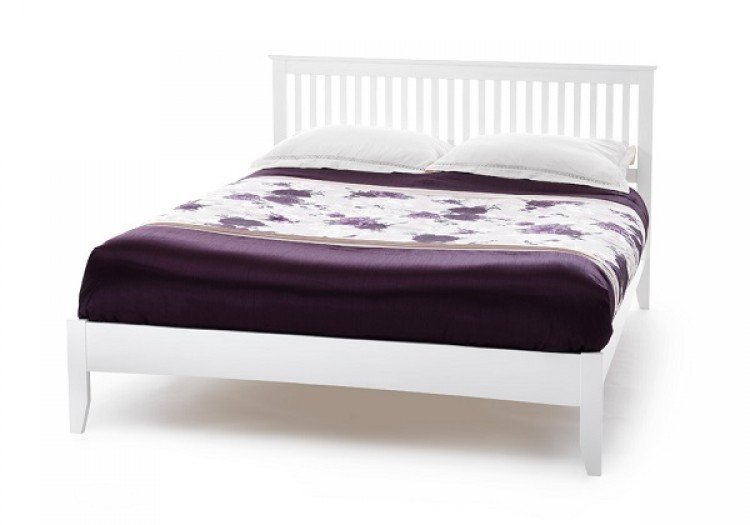 ... Freya 4ft Small Double White Wooden Bed Frame by Serene Furnishings