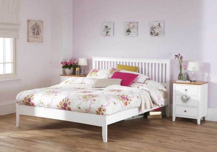 Serene Freya 4ft6 Double White Wooden Bed Frame By Serene Furnishings