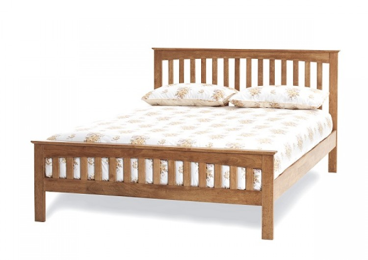 Serene Amelia 4ft6 Double Oak Finish Wooden Bed Frame By