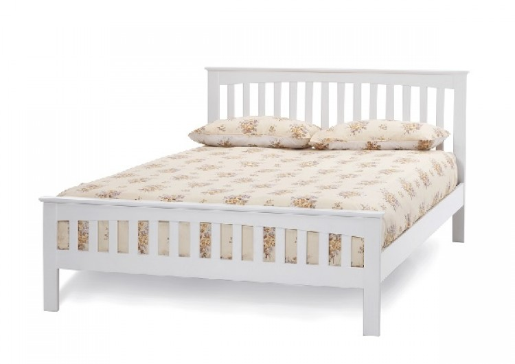 serene amelia 4ft6 double white wooden bed frame by furnishings