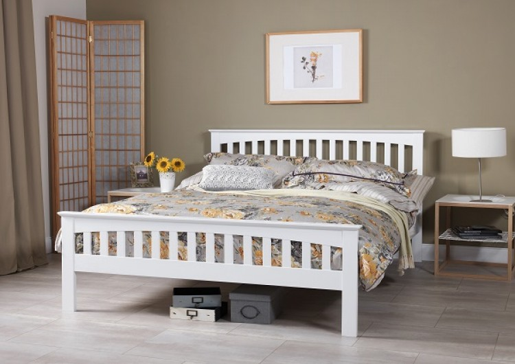 ... Amelia 4ft Small Double White Wooden Bed Frame by Serene Furnishings