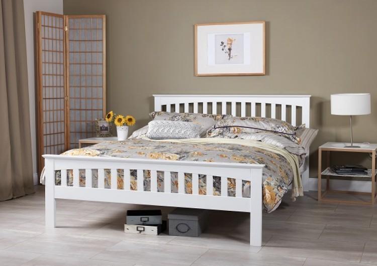Serene Amelia 6ft Super Kingsize White Wooden Bed Frame By Serene
