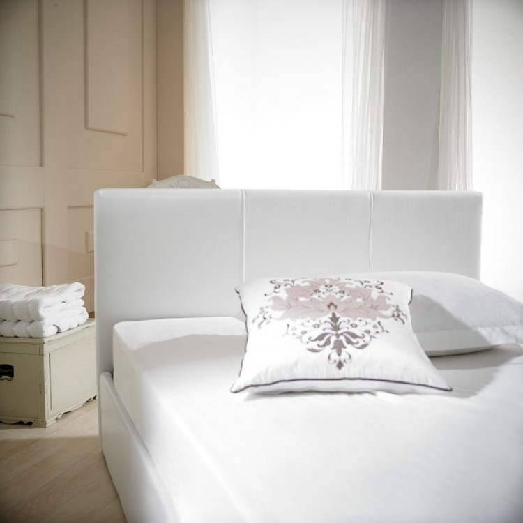 baf72aec8fc8 ... Emporia Madrid 4ft Small Double White Faux Leather Ottoman. Show More  Information