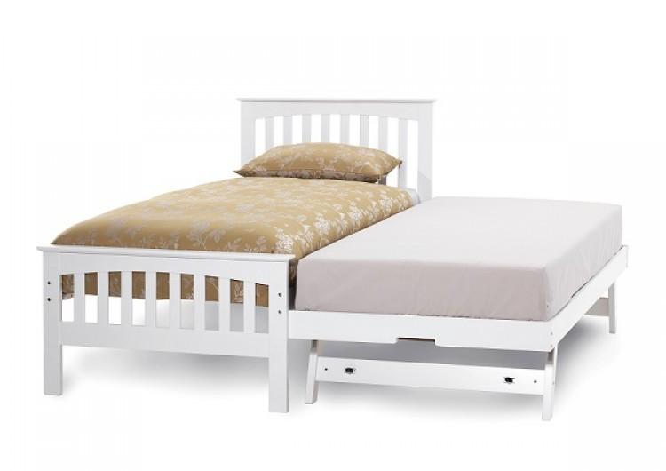 White Wood Single Bed Frame 750 x 530