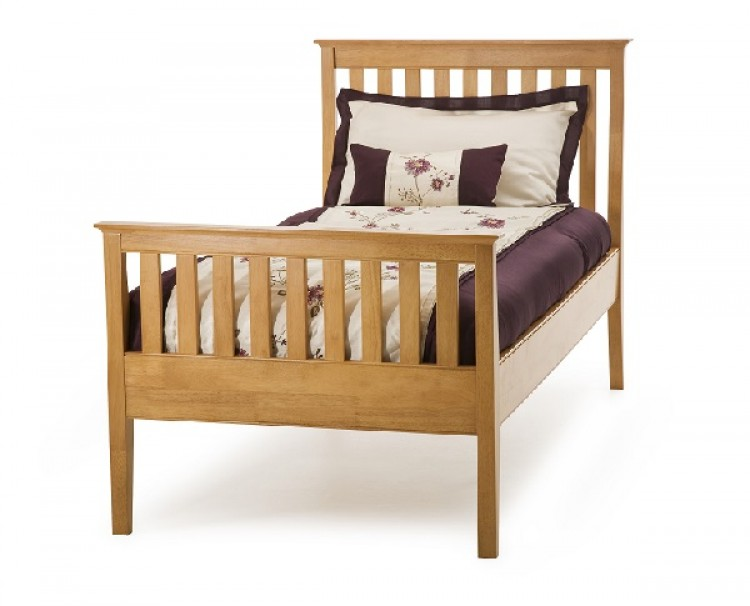 serene grace 3ft single cherry wooden bed frame with high