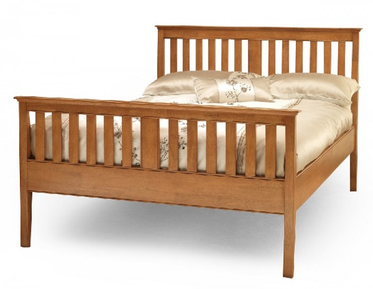 Serene grace 4ft small double cherry wooden bed frame with for Small king bed frame