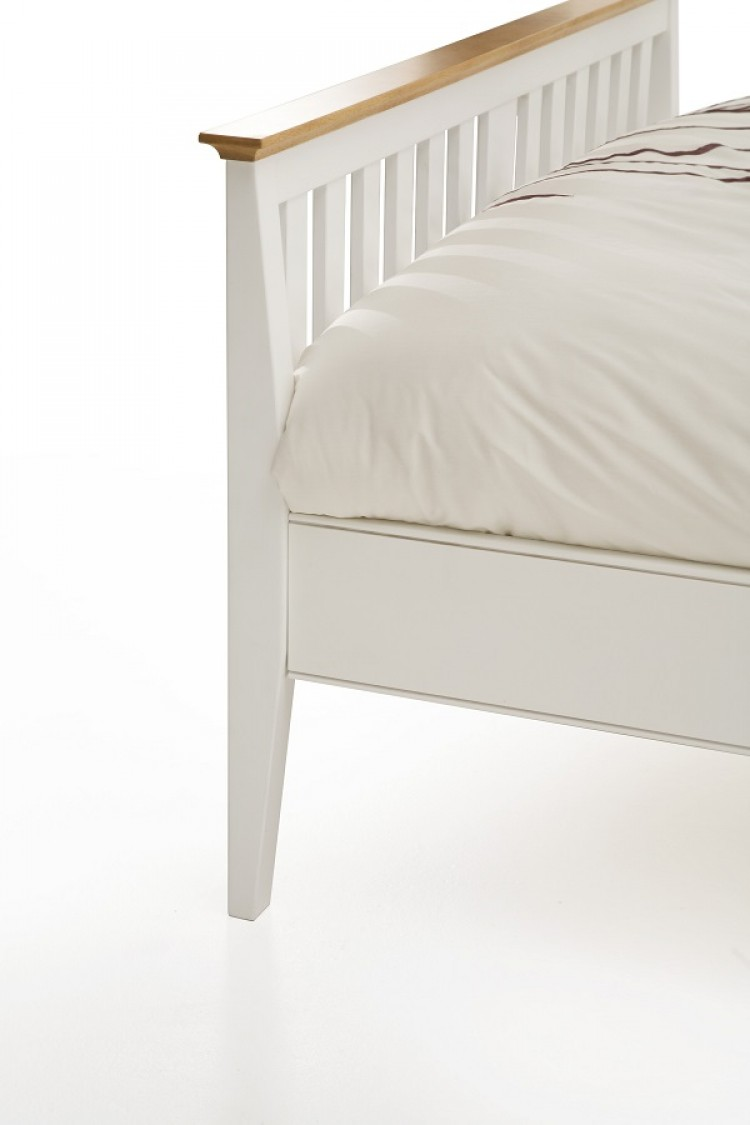 Serene grace 4ft small double white wooden bed frame with for Double twin bed frame