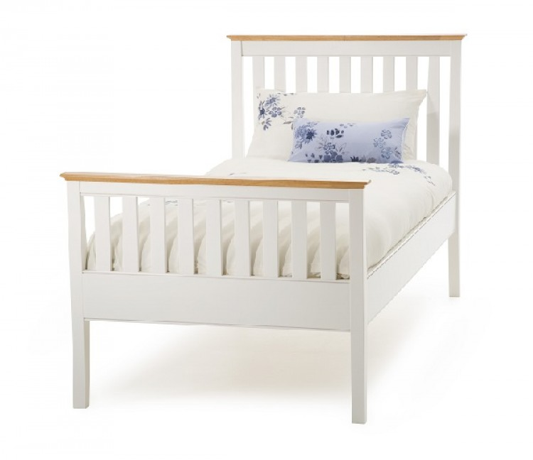 Serene Grace 3ft Single White Wooden Bed Frame with High Foot End by ...