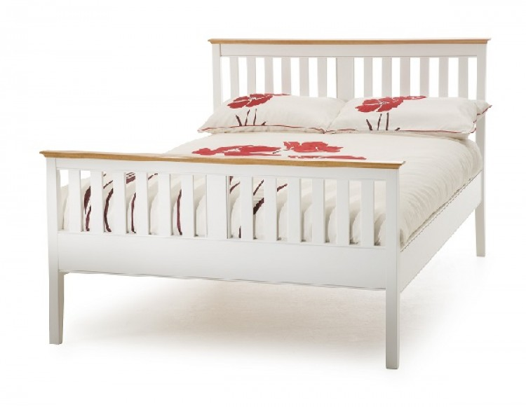 Serene Grace 4ft Small Double White Wooden Bed Frame with High Foot ...
