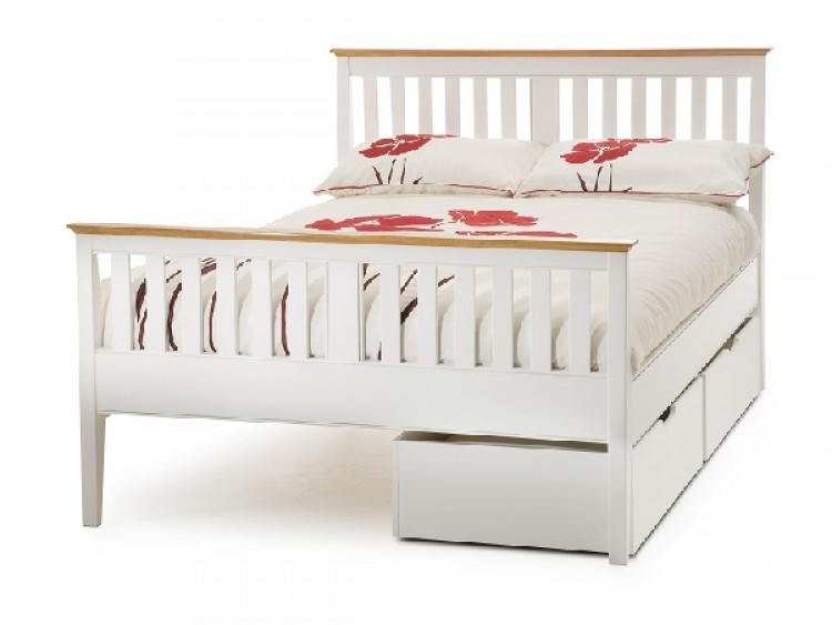 Serene Grace 5ft King Size White Wooden Bed Frame With High Foot End By Serene Furnishings