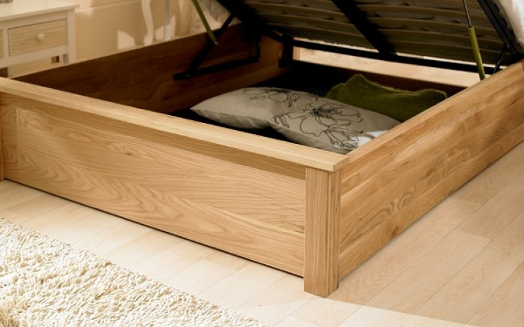 King bed headboard with storage - Monaco 5ft Kingsize Solid Oak Ottoman Bed Frame By Emporia Beds