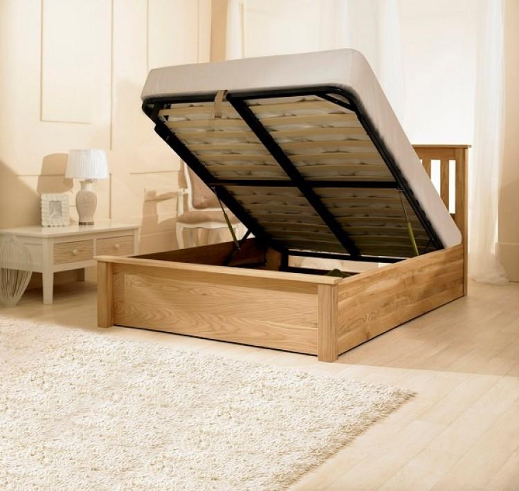 Emporia Monaco 6ft Super Kingsize Solid Oak Ottoman Bed Frame By