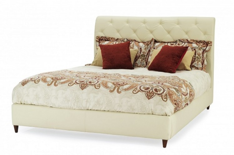 Store Clearance Serene Verona 5ft Kingsize Cream Faux Leather Bed
