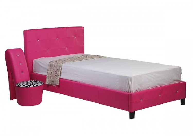 Pink Faux Leather Bed 750 x 527
