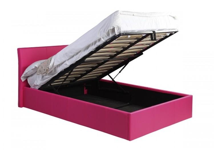 Gfw jasmine 4ft small double hot pink ottoman storage bed for Small double bed ottoman storage