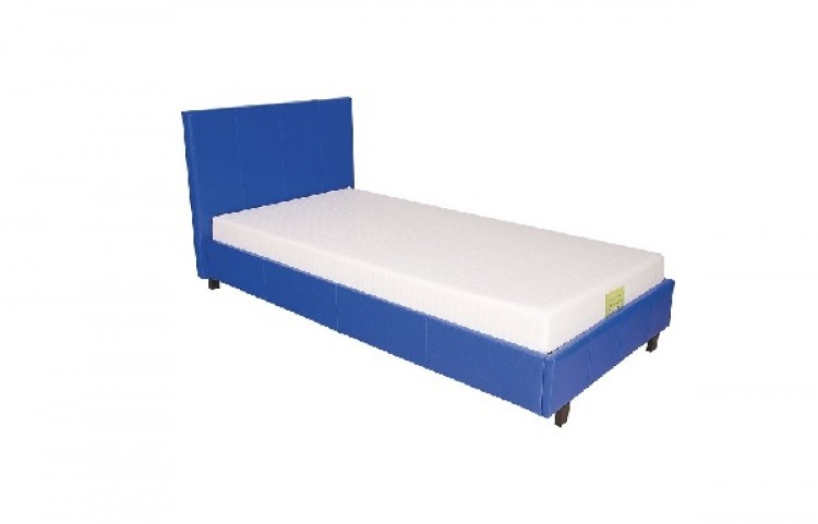 gfw maine 3ft single blue faux leather bed frame