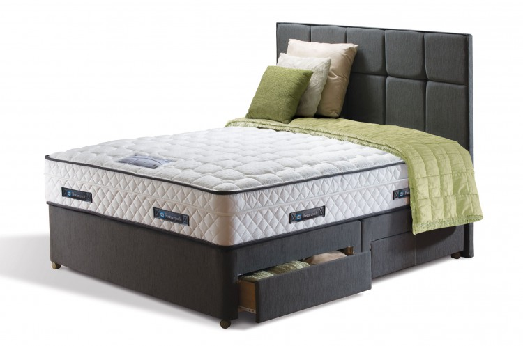 Sealy weslake posturepedic platinum 3ft single divan bed for Single divan with drawers and headboard