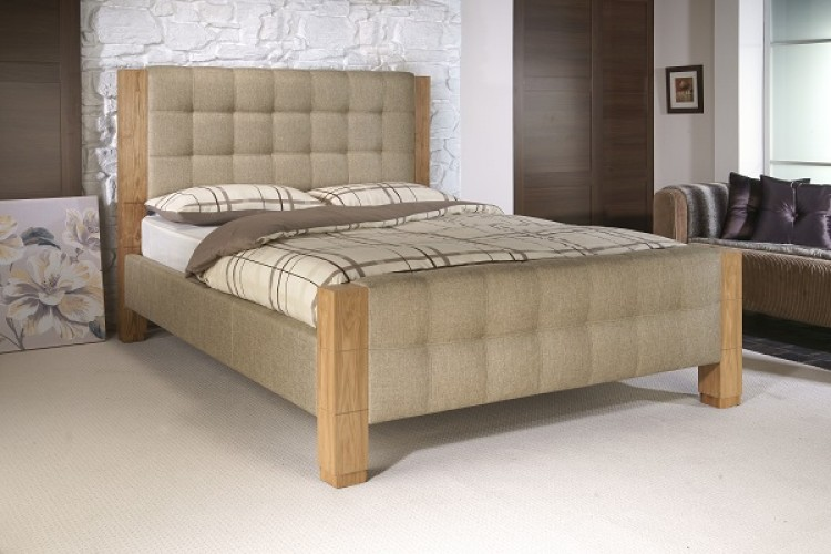 ... Saturn 5ft Kingsize Oatmeal Fabric Bed Frame by Limelight Beds