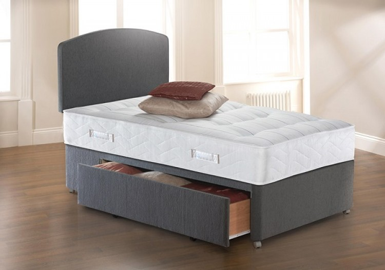 Sealy solo ultra tufted 3ft6 large single divan bed by sealy for Single divan bed no mattress