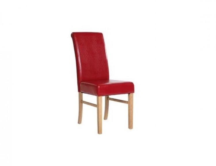 Core Kendal Pair Of Red Faux Leather Dining Chairs By Core Products