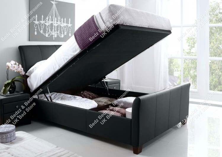 Delicieux Kaydian Allendale 6ft Super Kingsize Black Leather Ottoman Storage Bed By  Kaydian
