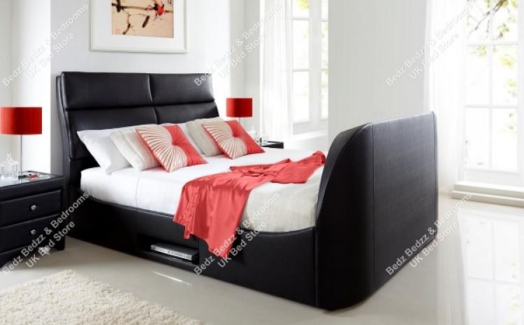 Kaydian Wynn 6ft Super Kingsize Black Leather TV Bed By