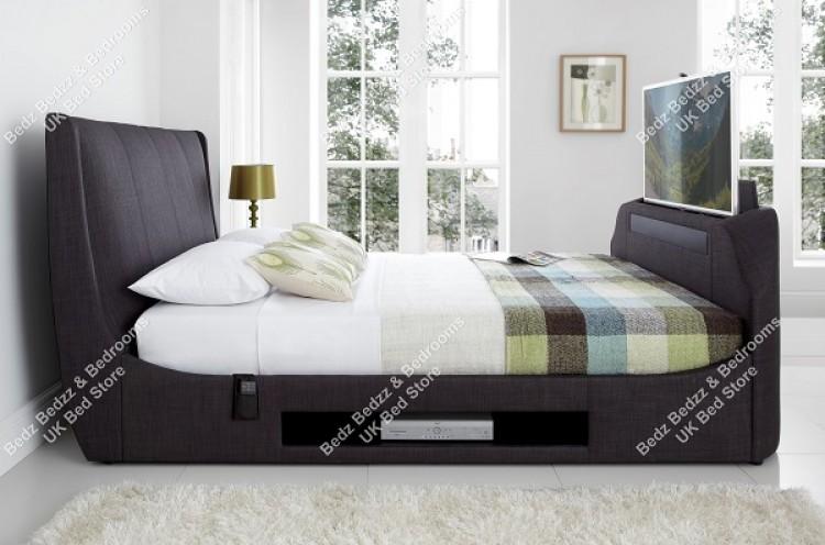 Kaydian Sommer 6ft Super Kingsize Slate Fabric TV Bed By