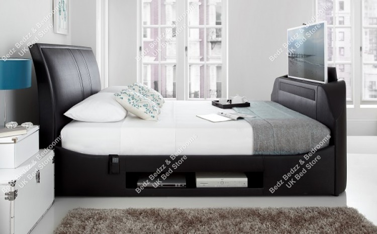 Swell Kaydian Maximus 5Ft Kingsize Black Leather Tv Bed By Kaydian Forskolin Free Trial Chair Design Images Forskolin Free Trialorg
