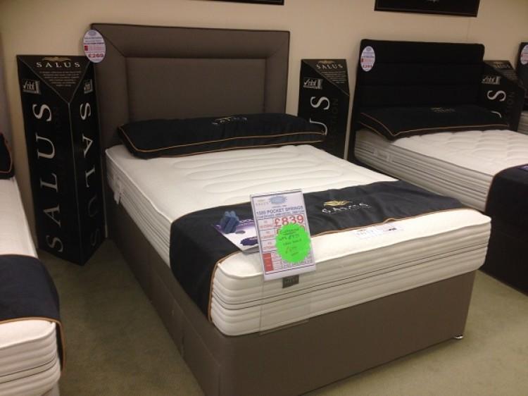 1500 pocket spring 2 inch memory foam divan bed with for Memory foam double divan bed sale