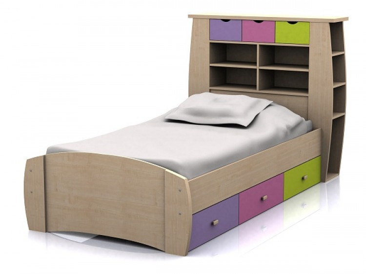 Modern bed side view - Gfw Sydney 3ft Storage Bed Frame Pink And Lilac By Gfw