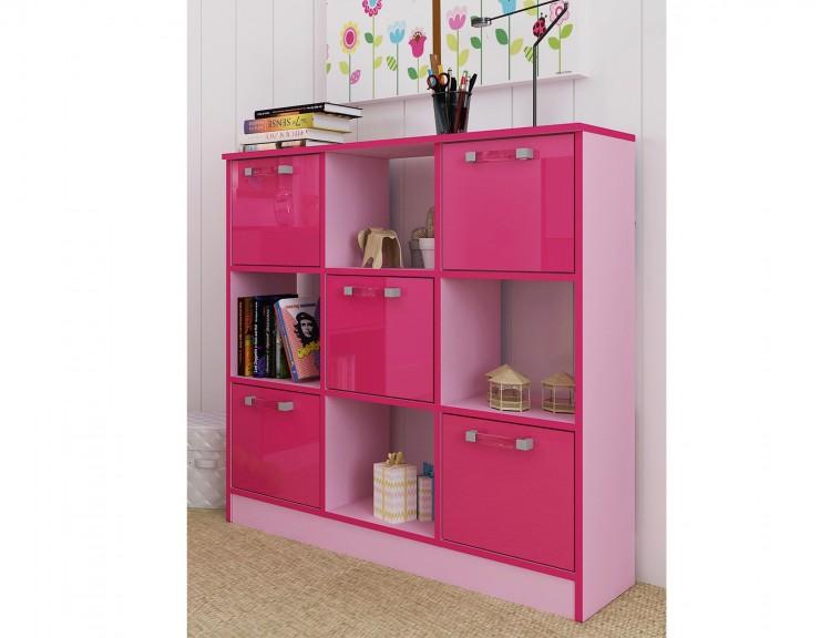 GFW Ottawa 2 Tones Gloss Pink 3x3 Cube Storage Unit by GFW