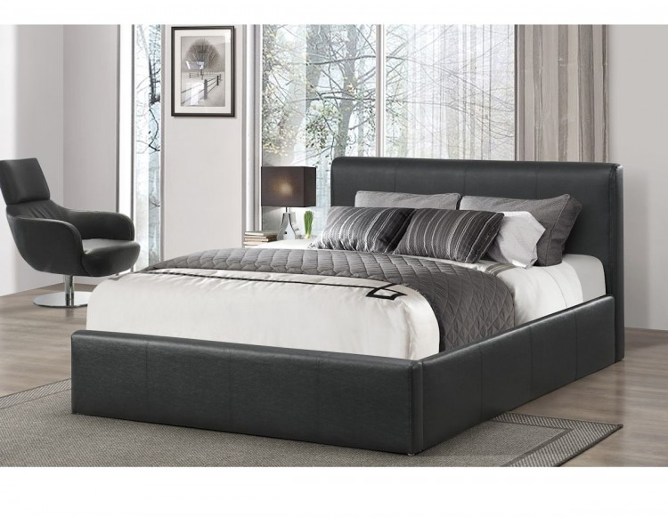 Birlea Ottoman 4ft Small Double Black Faux Leather Bed Frame by Birlea