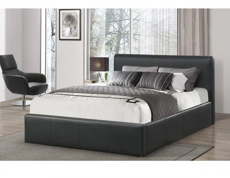 Birlea Ottoman 5ft Kingsize Black Faux Leather Ottoman Bed by Birlea
