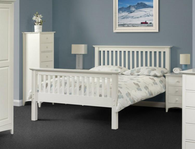 Julian Bowen Barcelona High Foot End, White Solid Wood Bedroom Furniture Uk