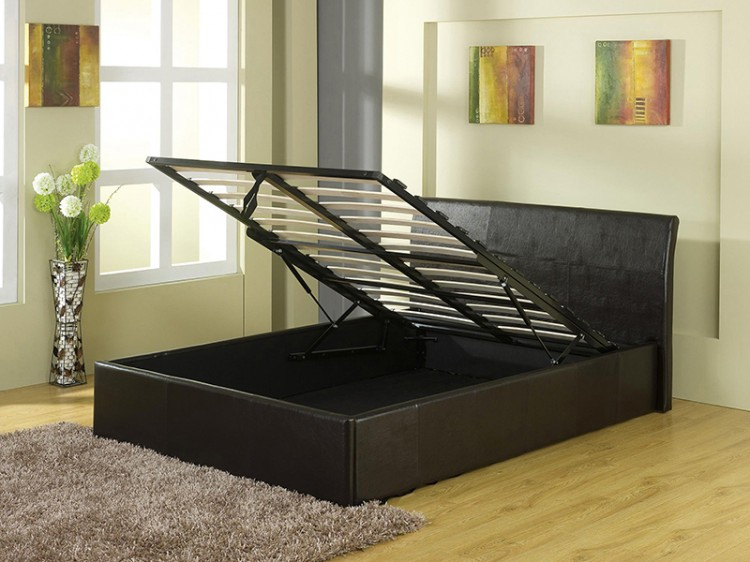 gfw denver 4ft small double black faux leather ottoman lift bed frame by gfw - Bed Frames Denver