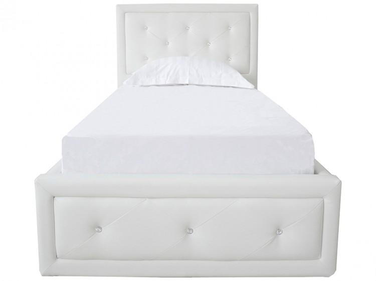 Single White Faux Leather Ottoman Lift Bed Frame Show More Information