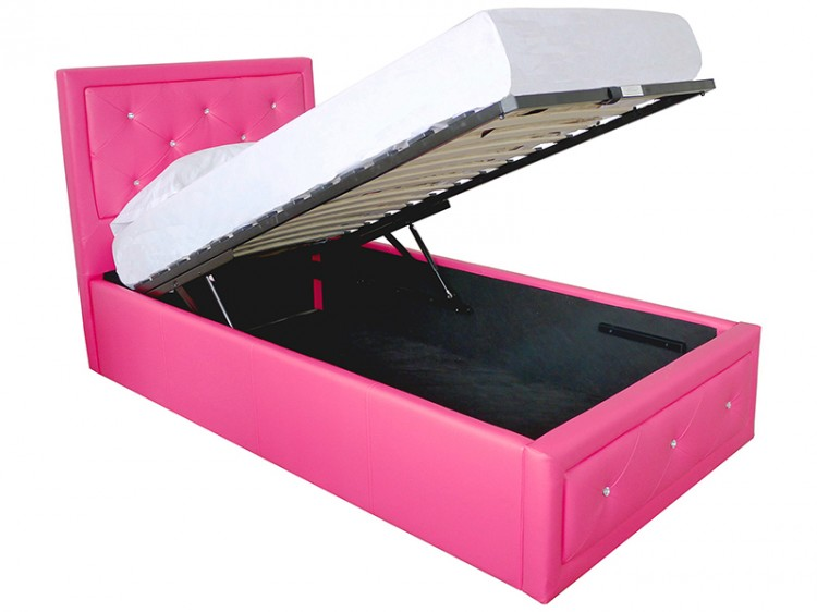 GFW Hollywood 3ft Single Hot Pink Faux Leather Ottoman Lift Bed ...