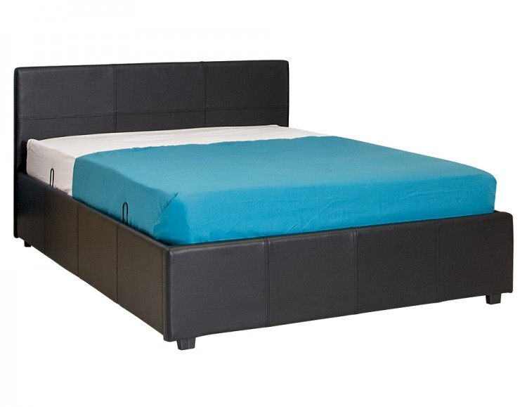 Gfw Side Lift Ottoman 3ft Single Black Faux Leather Bed